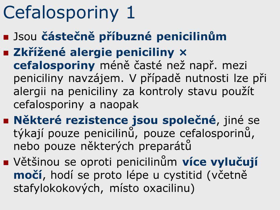 Cefalosporiny 1 Jsou částečně příbuzné penicilinům Zkřížené alergie peniciliny × cefalosporiny méně časté než např. mezi peniciliny navzájem. V případ