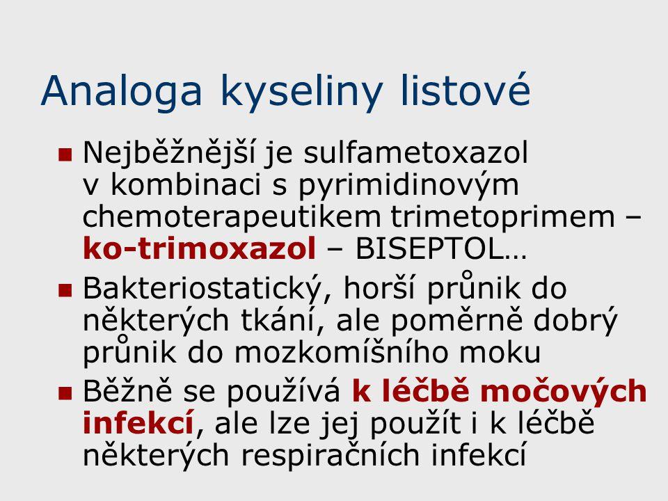 Analoga kyseliny listové Nejběžnější je sulfametoxazol v kombinaci s pyrimidinovým chemoterapeutikem trimetoprimem – ko-trimoxazol – BISEPTOL… Bakteri