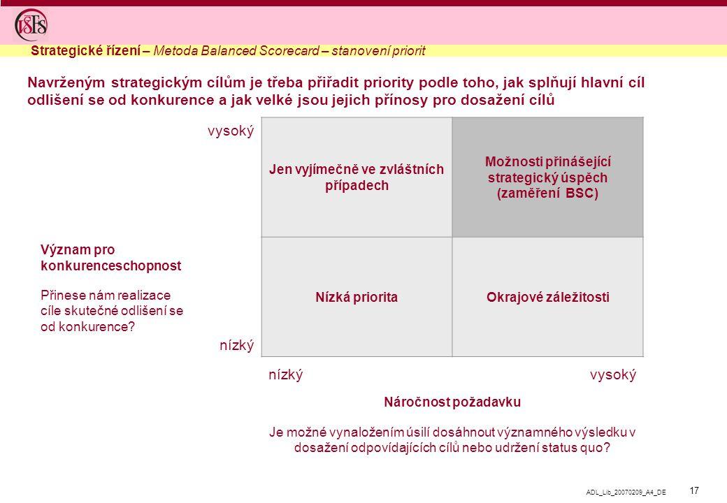 17 ADL_Lib_20070209_A4_DE Navrženým strategickým cílům je třeba přiřadit priority podle toho, jak splňují hlavní cíl odlišení se od konkurence a jak v