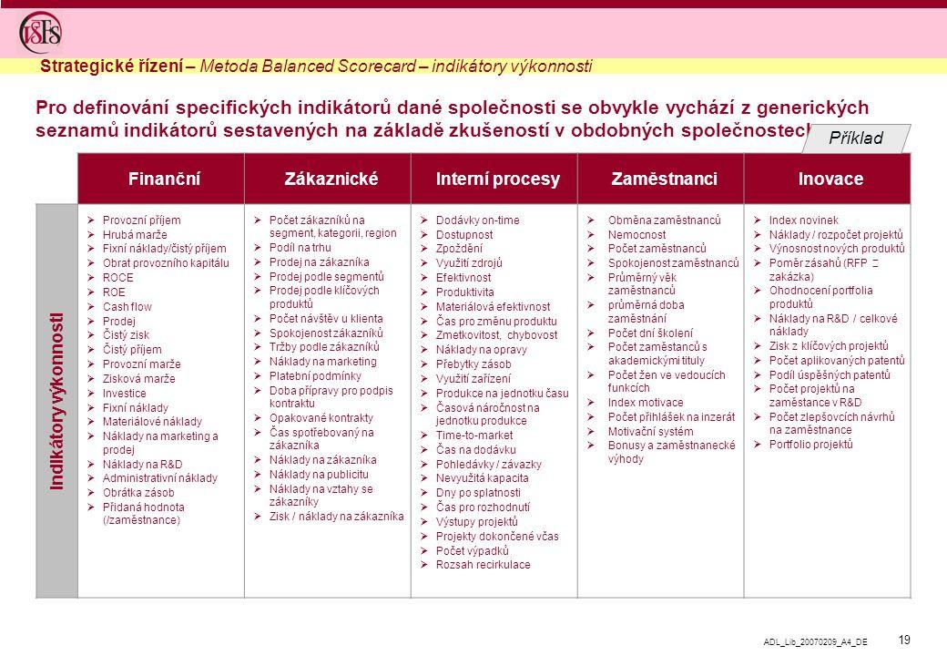 19 ADL_Lib_20070209_A4_DE Pro definování specifických indikátorů dané společnosti se obvykle vychází z generických seznamů indikátorů sestavených na základě zkušeností v obdobných společnostech  Finanční  Zákaznické  Interní procesy  Zaměstnanci  Inovace  Provozní příjem  Hrubá marže  Fixní náklady/čistý příjem  Obrat provozního kapitálu  ROCE  ROE  Cash flow  Prodej  Čistý zisk  Čistý příjem  Provozní marže  Zisková marže  Investice  Fixní náklady  Materiálové náklady  Náklady na marketing a prodej  Náklady na R&D  Administrativní náklady  Obrátka zásob  Přidaná hodnota (/zaměstnance)  Počet zákazníků na segment, kategorii, region  Podíl na trhu  Prodej na zákazníka  Prodej podle segmentů  Prodej podle klíčových produktů  Počet návštěv u klienta  Spokojenost zákazníků  Tržby podle zákazníků  Náklady na marketing  Platební podmínky  Doba přípravy pro podpis kontraktu  Opakované kontrakty  Čas spotřebovaný na zákazníka  Náklady na zákazníka  Náklady na publicitu  Náklady na vztahy se zákazníky  Zisk / náklady na zákazníka  Dodávky on-time  Dostupnost  Zpoždění  Využití zdrojů  Efektivnost  Produktivita  Materiálová efektivnost  Čas pro změnu produktu  Zmetkovitost, chybovost  Náklady na opravy  Přebytky zásob  Využití zařízení  Produkce na jednotku času  Časová náročnost na jednotku produkce  Time-to-market  Čas na dodávku  Pohledávky / závazky  Nevyužitá kapacita  Dny po splatnosti  Čas pro rozhodnutí  Výstupy projektů  Projekty dokončené včas  Počet výpadků  Rozsah recirkulace  Obměna zaměstnanců  Nemocnost  Počet zaměstnanců  Spokojenost zaměstnanců  Průměrný věk zaměstnanců  průměrná doba zaměstnání  Počet dní školení  Počet zaměstanců s akademickými tituly  Počet žen ve vedoucích funkcích  Index motivace  Počet přihlášek na inzerát  Motivační systém  Bonusy a zaměstnanecké výhody  Index novinek  Náklady / rozpočet projektů  Výnosnost nových produktů  Poměr zásahů (RFP  zakázka)  Ohodnocení portfolia produktů  Náklady na R&D / celkové náklady  Zisk z klíčových pr