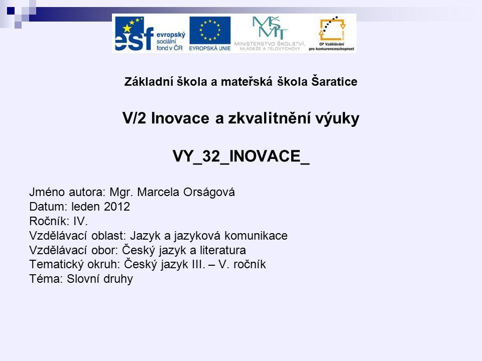 Základní škola a mateřská škola Šaratice V/2 Inovace a zkvalitnění výuky VY_32_INOVACE_ Jméno autora: Mgr.