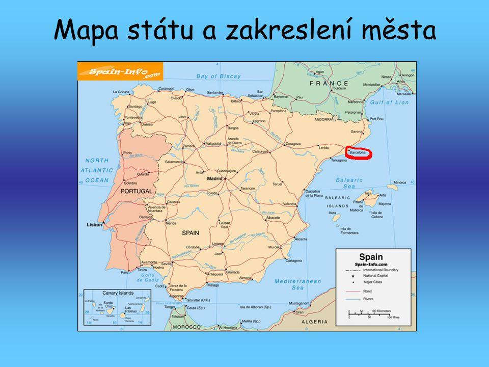 Mapa státu a zakreslení města