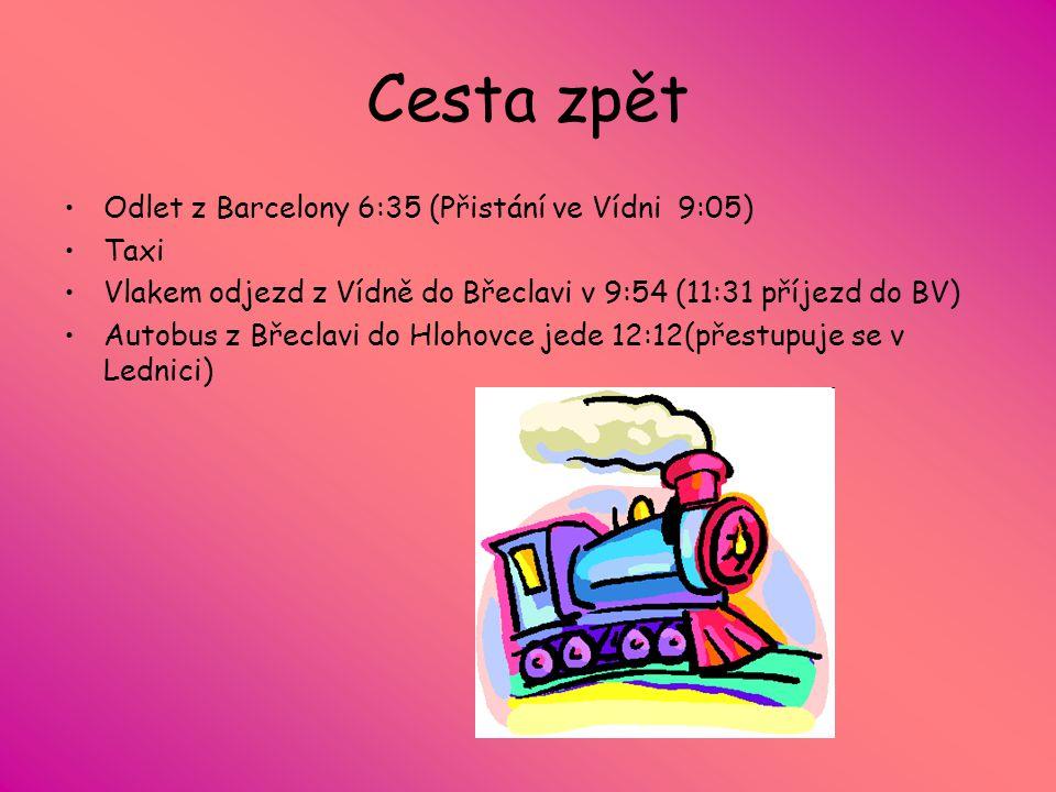 Cesta zpět Odlet z Barcelony 6:35 (Přistání ve Vídni 9:05) Taxi Vlakem odjezd z Vídně do Břeclavi v 9:54 (11:31 příjezd do BV) Autobus z Břeclavi do Hlohovce jede 12:12(přestupuje se v Lednici)