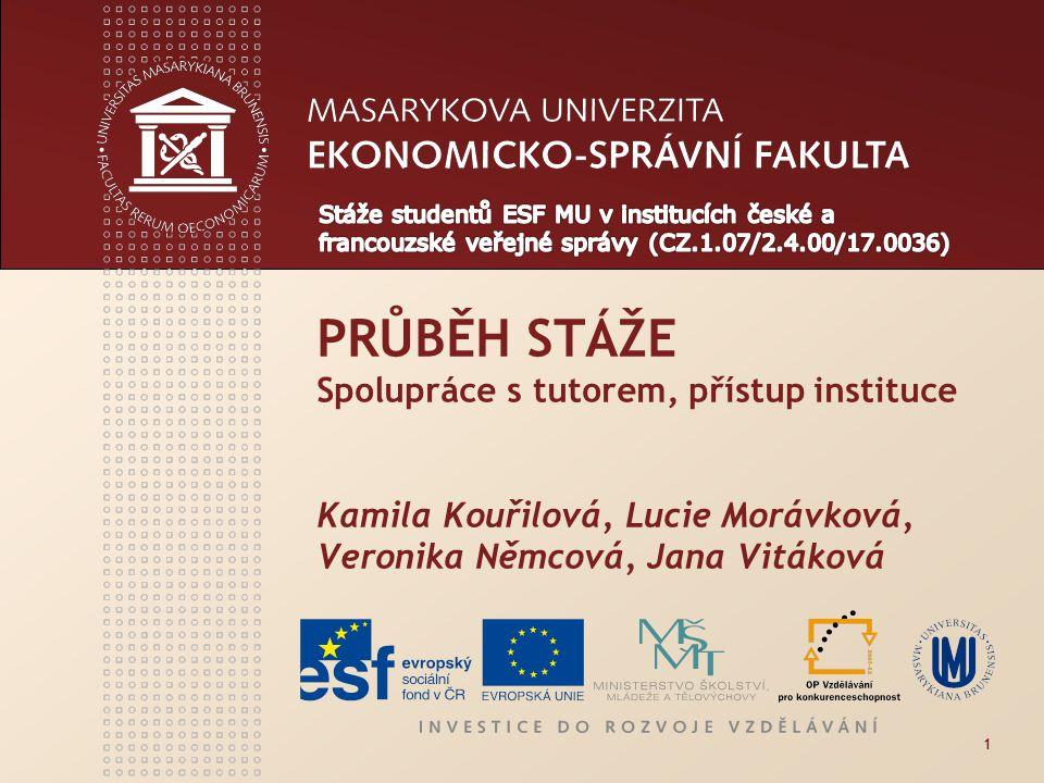 1 PRŮBĚH STÁŽE Spolupráce s tutorem, přístup instituce Kamila Kouřilová, Lucie Morávková, Veronika Němcová, Jana Vitáková