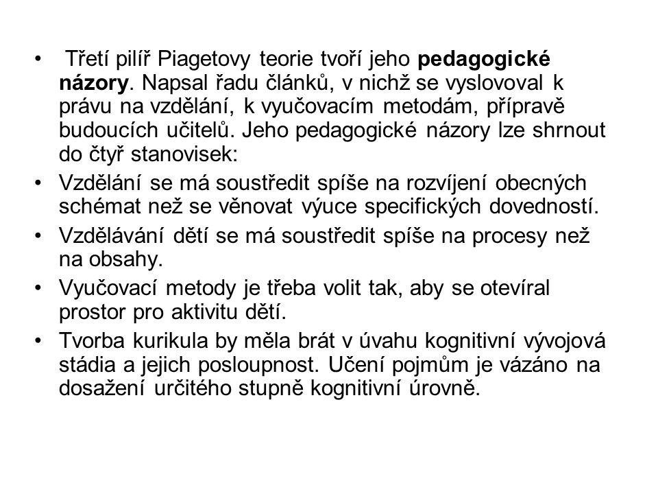 Třetí pilíř Piagetovy teorie tvoří jeho pedagogické názory. Napsal řadu článků, v nichž se vyslovoval k právu na vzdělání, k vyučovacím metodám, přípr