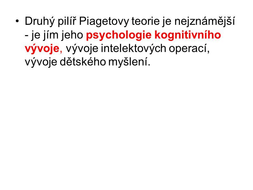 Druhý pilíř Piagetovy teorie je nejznámější - je jím jeho psychologie kognitivního vývoje, vývoje intelektových operací, vývoje dětského myšlení.
