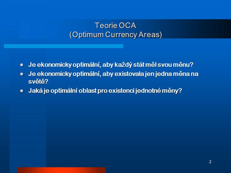 33 Asymetrie v Evropě vyšší OCA index znamená více asymetrických šoků řešených změnou kurzu [1997] vyšší OCA index znamená více asymetrických šoků řešených změnou kurzu [1997] některé země Evropy byly zasaženy asymetrickými šoky častěji než jiné a využívaly k řešení směnný kurz některé země Evropy byly zasaženy asymetrickými šoky častěji než jiné a využívaly k řešení směnný kurz
