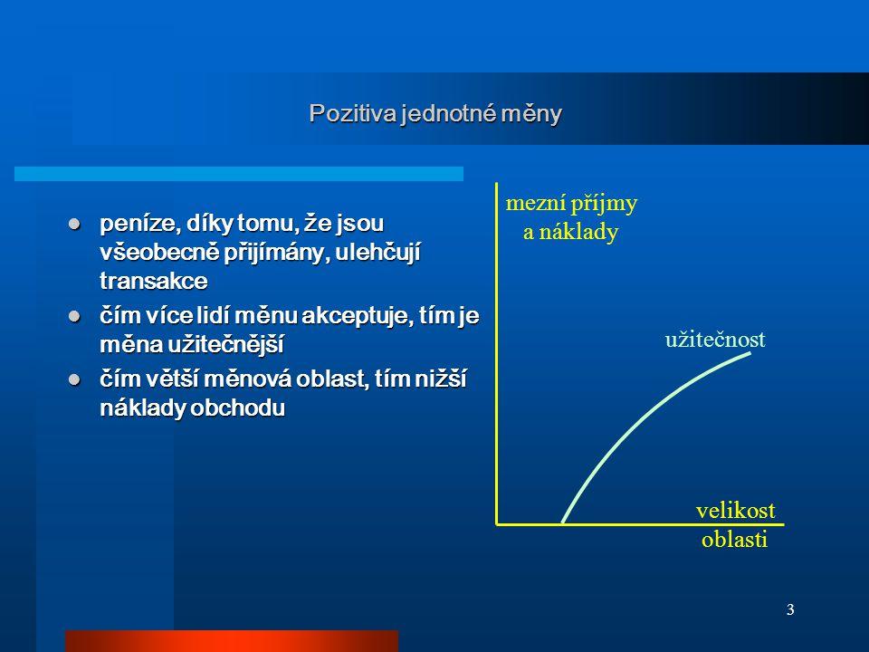 """14 Asymetrický šok v monetární unii - předpoklady GDP A GDP B S S D D D 0 EP A /P*EP B /P* ● A ● A """"A , """"B tvoří MU """"A , """"B tvoří MU """"A postihne negativní šok """"A postihne negativní šok vůči třetímu světu floating vůči třetímu světu floating málo pružné P, W málo pružné P, W 0 = E 0 P A /P* = E 0 P B /P* 0 = E 0 P A /P* = E 0 P B /P* –P A, P B – domácí cenové hl."""