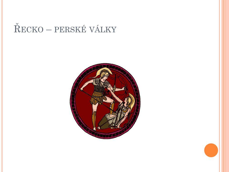 """D RUHÉ PERSKÉ TAŽENÍ  deset let příprav na obou stranách 480 BC – velké perské vojsko (200-250000) námořní i pozemní vojsko """"severní cesta , část lodí zničila bouře (""""odplata bohů ) spojení řeckých měst – vedení Sparty"""