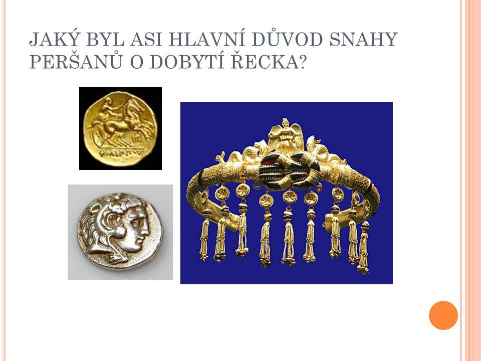 """P ŘÍČINY VÍTĚZSTVÍ  motivace: Řekové bojují za vlast, za své rodiny, o vlastní život X Peršané jsou dobyvatelé, bojují za bohatství a kořist vlastenectví: Řekové mají stejnou identitu (jazyk, tradice, náboženství) X perské vojsko složeno z mnoha národů vysoká disciplína (Řekové) X menší disciplína (Peršané – jazyková bariéra, více aristokracie – snaha """"předvést se v boji lepší zbraně (Řekové) znalost a vojenské využití terénu"""