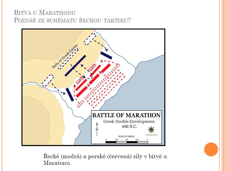 B ITVA U M ARATHONU P OZNÁŠ ZE SCHÉMATU ŘECKOU TAKTIKU ? Řecké (modrá) a perské (červená) síly v bitvě u Maratonu.