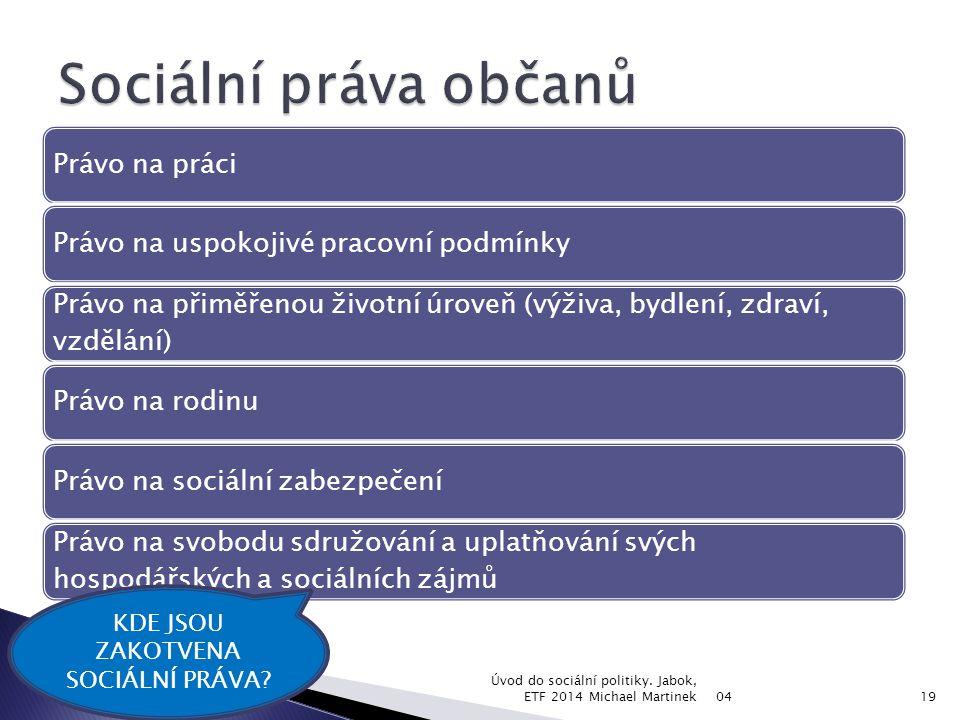 Právo na práciPrávo na uspokojivé pracovní podmínky Právo na přiměřenou životní úroveň (výživa, bydlení, zdraví, vzdělání) Právo na rodinuPrávo na soc