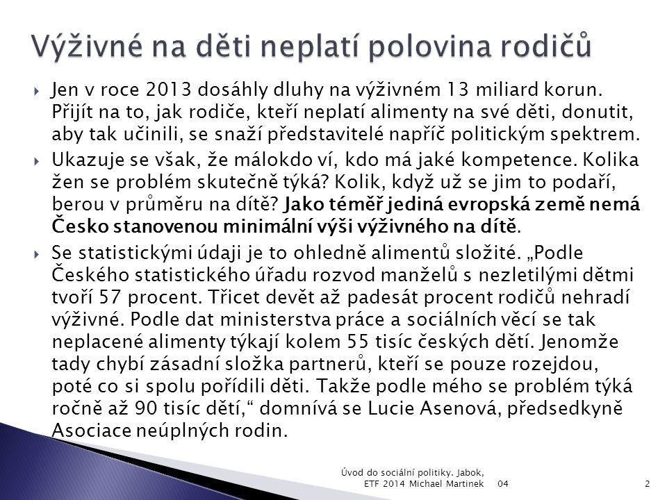  Jen v roce 2013 dosáhly dluhy na výživném 13 miliard korun. Přijít na to, jak rodiče, kteří neplatí alimenty na své děti, donutit, aby tak učinili,