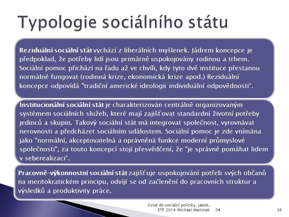 Typ sociálního státuReziduálníVýkonovýInstitucionální CharakteristikaLiberální Konzervativní, korporativistický Sociálně- demokratický Odpovědnost státu za uspokojování potřeb MinimálníOptimálníMaximální Populace pokrytá povinně poskytovanými službami MenšinaVětšinaVšichni Výše příspěvkůNízkáStředníVysoká Část národního důchodu určená pro soc.