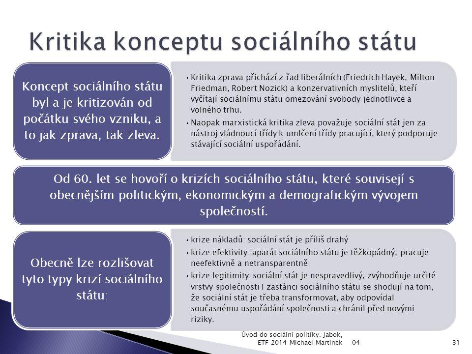  Nesnadnost/nemožnost nalezení optima mezi sociálním a ekonomickým fenoménem je příčinou současné krize sociálního státu.