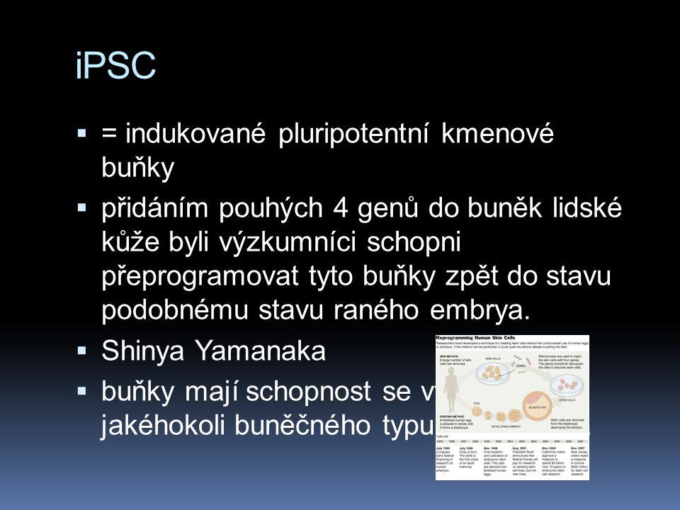 iPSC  = indukované pluripotentní kmenové buňky  přidáním pouhých 4 genů do buněk lidské kůže byli výzkumníci schopni přeprogramovat tyto buňky zpět