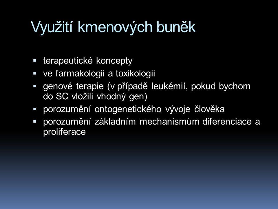 Využití kmenových buněk  terapeutické koncepty  ve farmakologii a toxikologii  genové terapie (v případě leukémií, pokud bychom do SC vložili vhodn