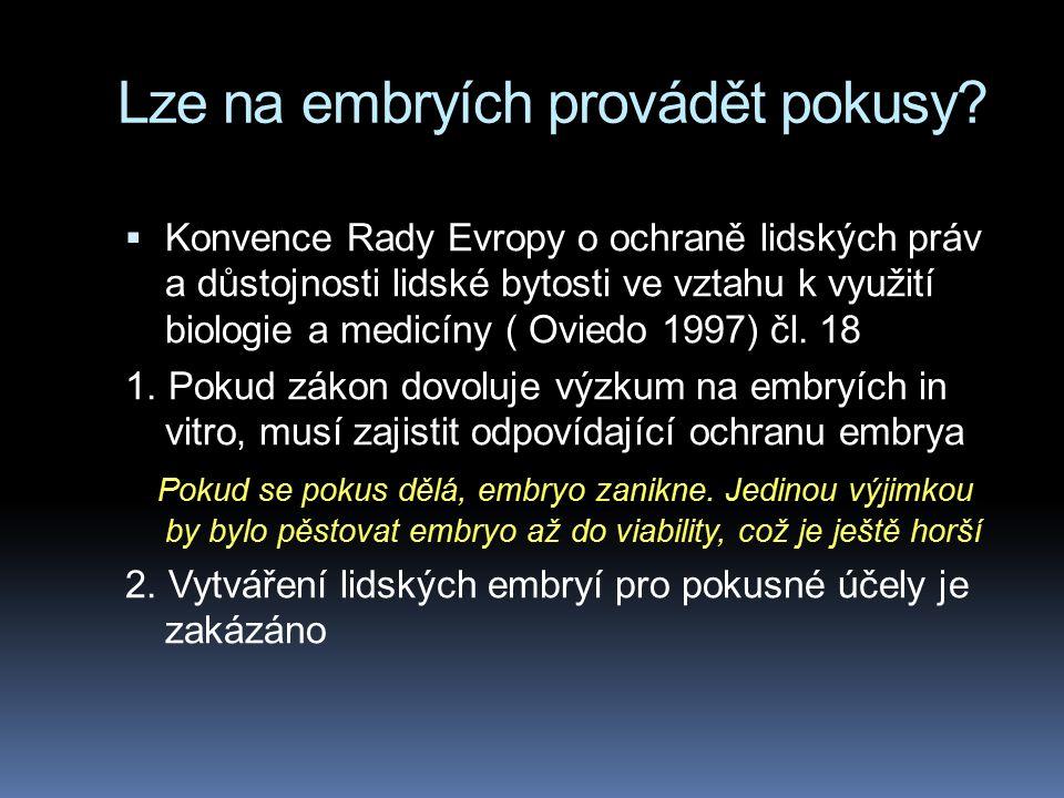 Lze na embryích provádět pokusy?  Konvence Rady Evropy o ochraně lidských práv a důstojnosti lidské bytosti ve vztahu k využití biologie a medicíny (