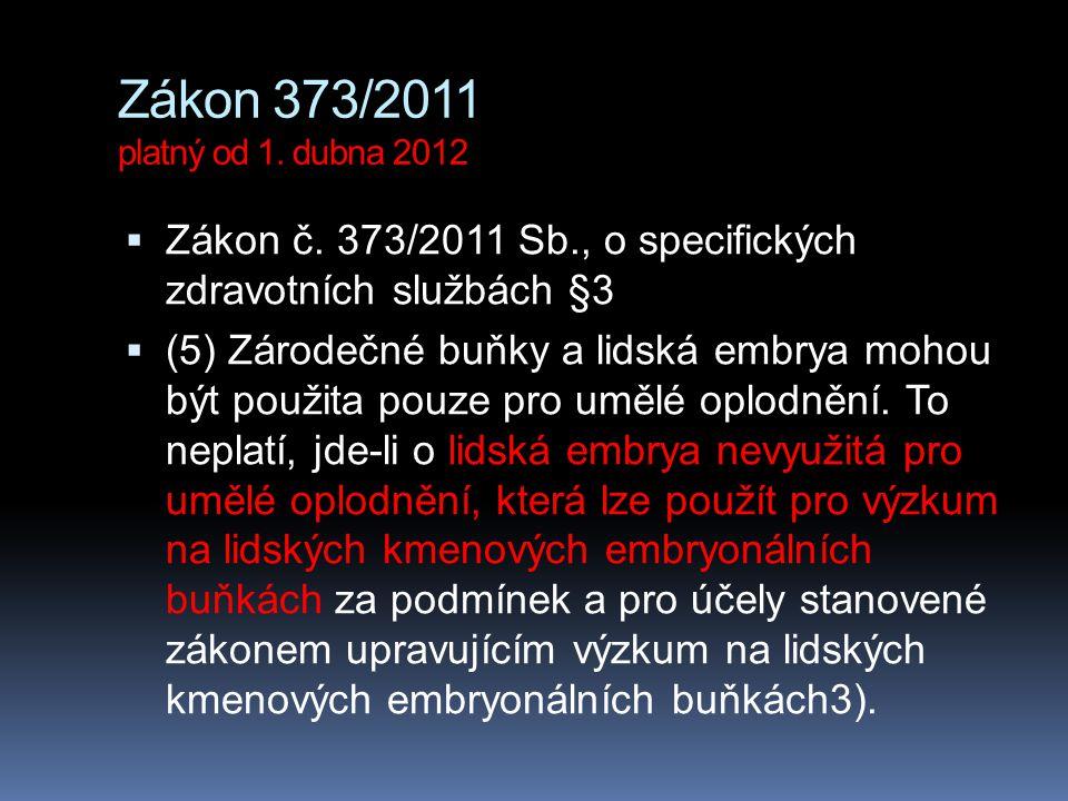 Zákon 373/2011 platný od 1. dubna 2012  Zákon č. 373/2011 Sb., o specifických zdravotních službách §3  (5) Zárodečné buňky a lidská embrya mohou být