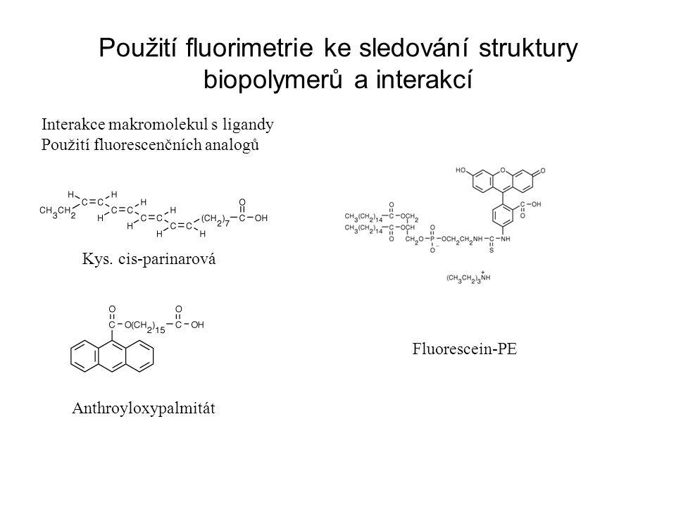 Použití fluorimetrie ke sledování struktury biopolymerů a interakcí Interakce makromolekul s ligandy Použití fluorescenčních analogů Kys. cis-parinaro