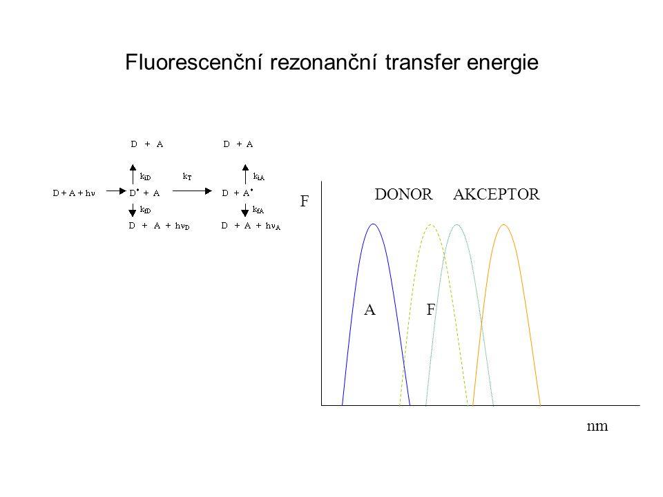 Fluorescenční rezonanční transfer energie F nm DONOR AF AKCEPTOR