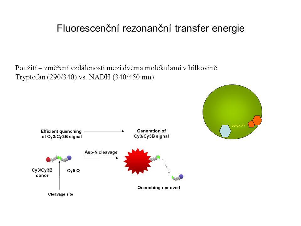 Fluorescenční rezonanční transfer energie Použití – změření vzdálenosti mezi dvěma molekulami v bílkovině Tryptofan (290/340) vs. NADH (340/450 nm)