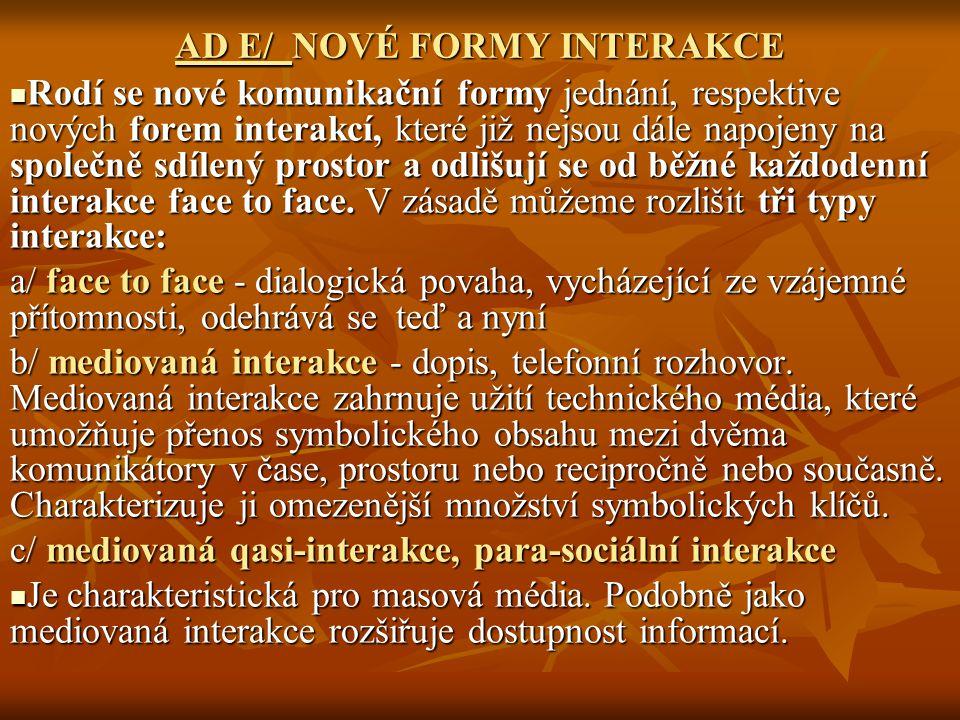 AD E/ NOVÉ FORMY INTERAKCE Rodí se nové komunikační formy jednání, respektive nových forem interakcí, které již nejsou dále napojeny na společně sdílený prostor a odlišují se od běžné každodenní interakce face to face.