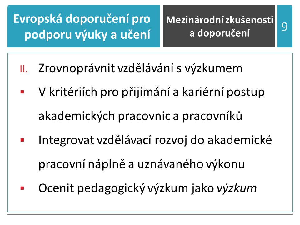 Evropská doporučení pro podporu výuky a učení II.