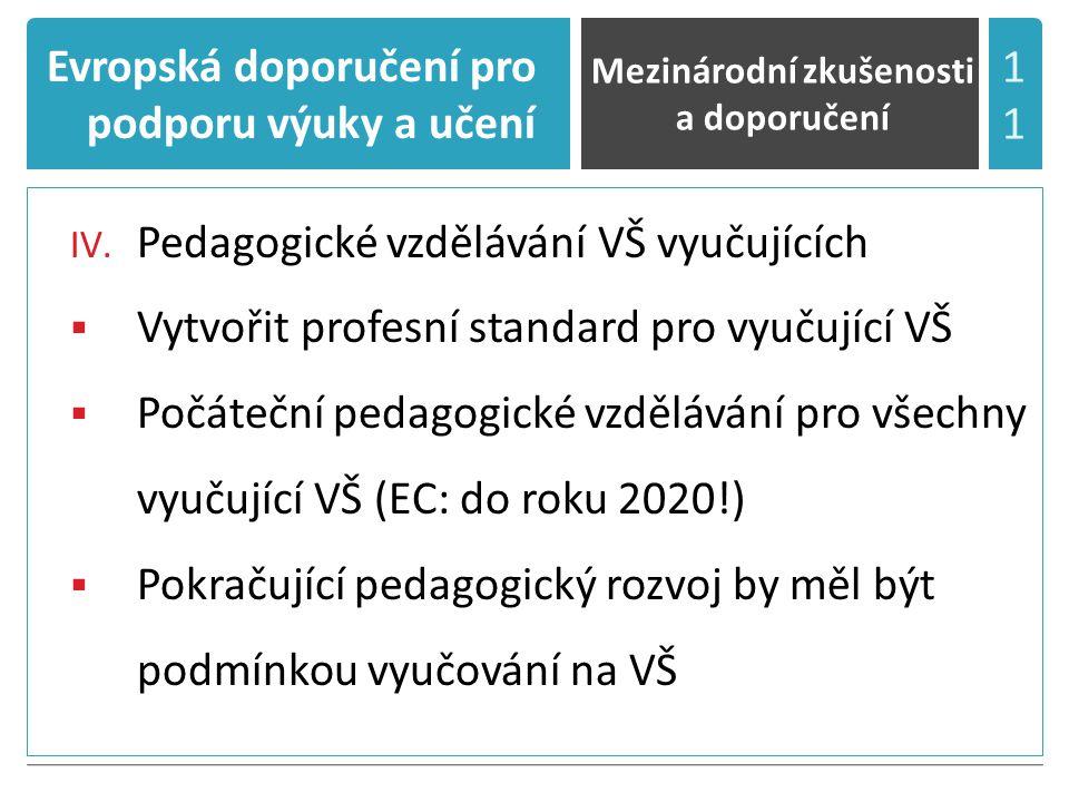 Evropská doporučení pro podporu výuky a učení IV.