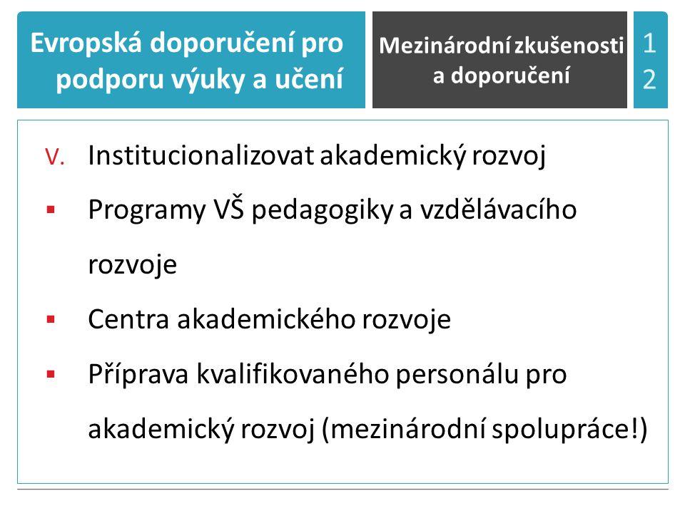 Evropská doporučení pro podporu výuky a učení V.