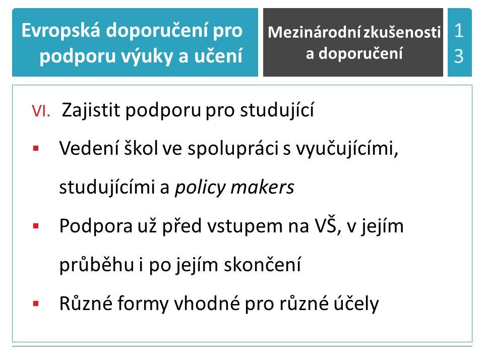 Evropská doporučení pro podporu výuky a učení VI.