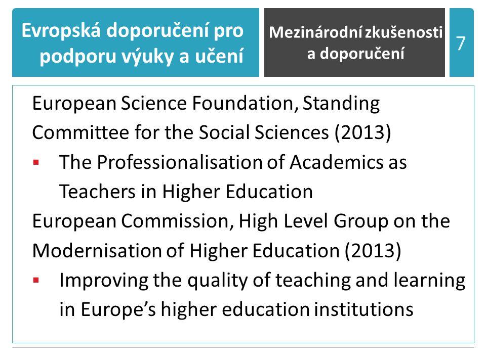 Evropská doporučení pro podporu výuky a učení I.