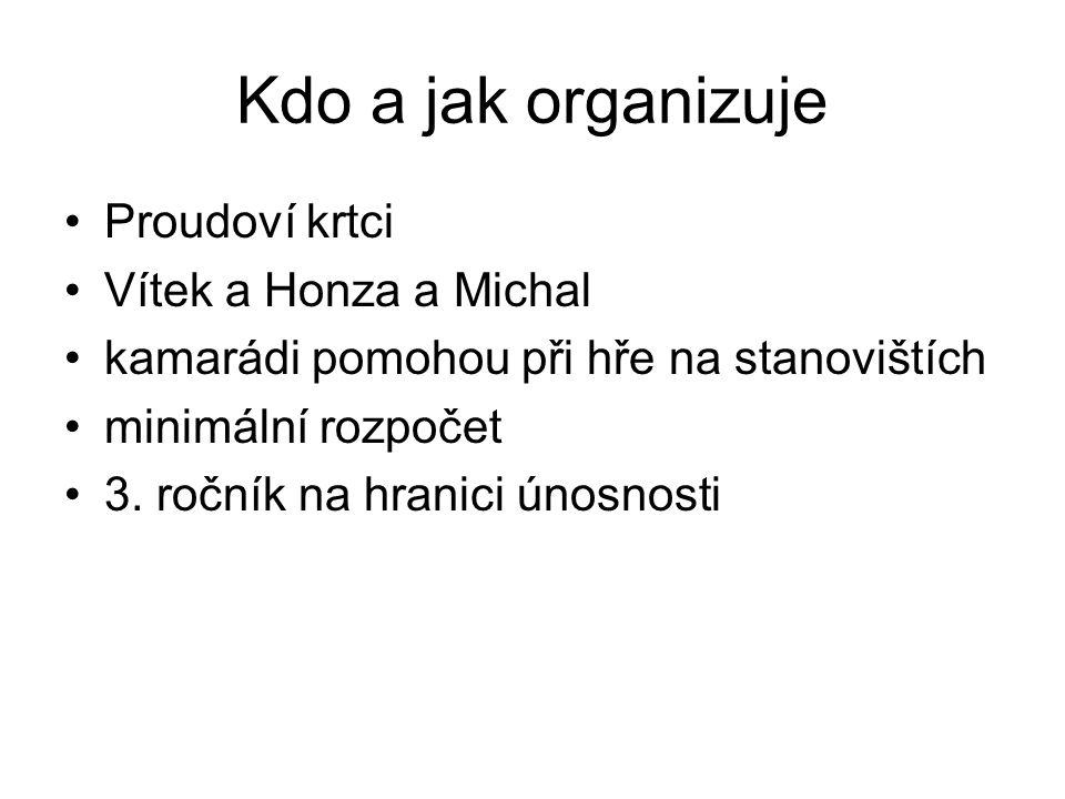 Kdo a jak organizuje Proudoví krtci Vítek a Honza a Michal kamarádi pomohou při hře na stanovištích minimální rozpočet 3.