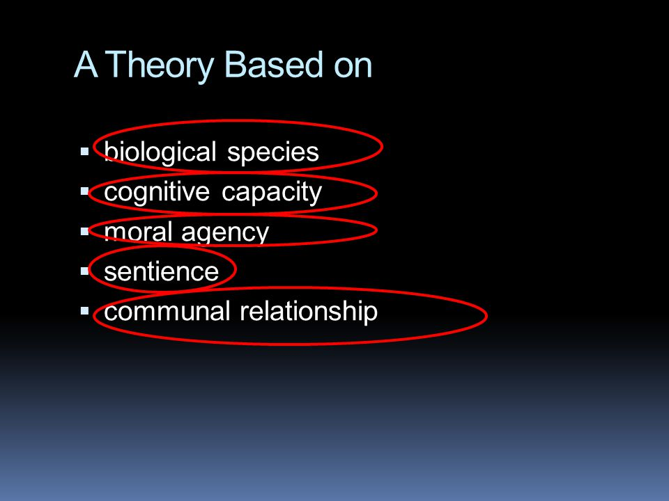 A Theory Based on  biological species  cognitive capacity  moral agency  sentience  communal relationship