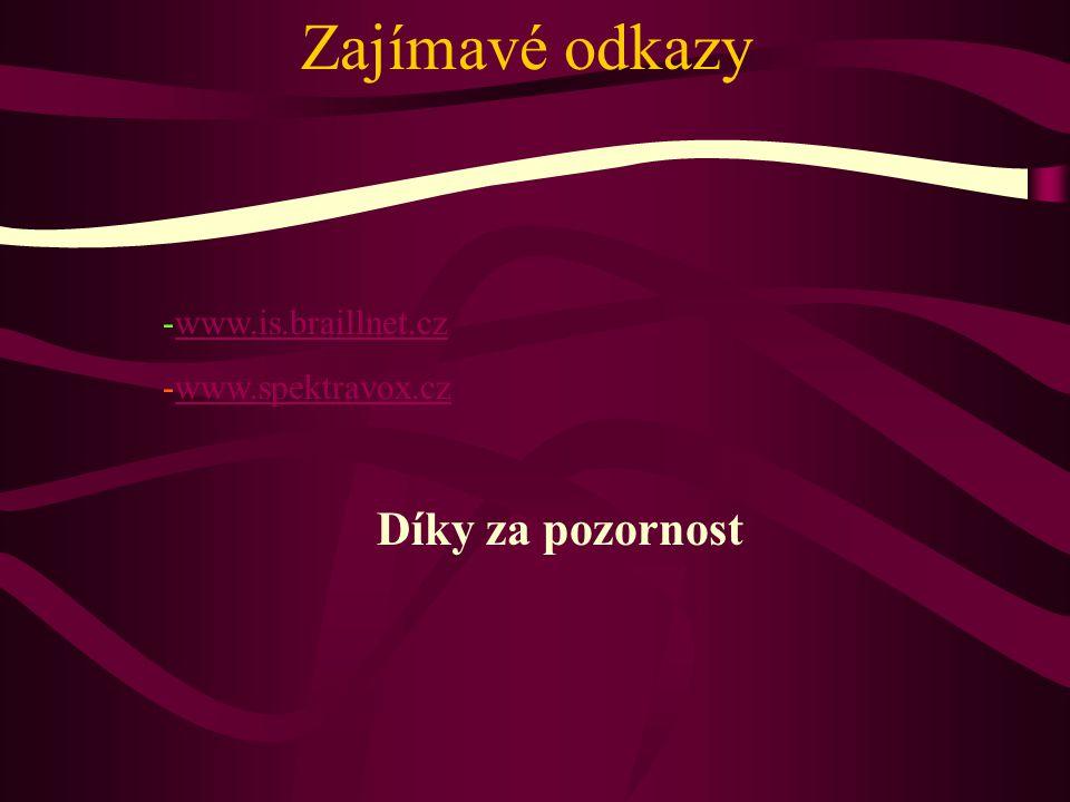 Zajímavé odkazy -www.is.braillnet.czwww.is.braillnet.cz -www.spektravox.czwww.spektravox.cz Díky za pozornost