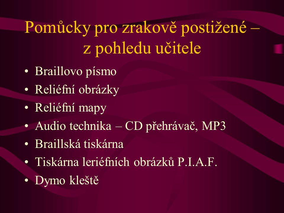 Pomůcky pro zrakově postižené – z pohledu učitele Braillovo písmo Reliéfní obrázky Reliéfní mapy Audio technika – CD přehrávač, MP3 Braillská tiskárna