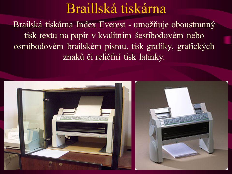 Braillská tiskárna Brailská tiskárna Index Everest - umožňuje oboustranný tisk textu na papír v kvalitním šestibodovém nebo osmibodovém brailském písm