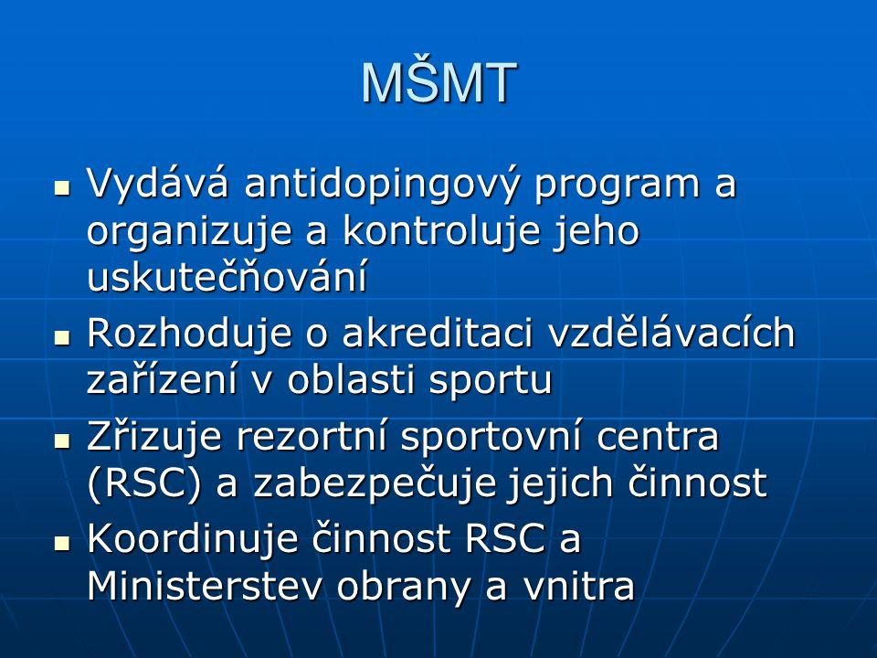 MŠMT Vydává antidopingový program a organizuje a kontroluje jeho uskutečňování Vydává antidopingový program a organizuje a kontroluje jeho uskutečňování Rozhoduje o akreditaci vzdělávacích zařízení v oblasti sportu Rozhoduje o akreditaci vzdělávacích zařízení v oblasti sportu Zřizuje rezortní sportovní centra (RSC) a zabezpečuje jejich činnost Zřizuje rezortní sportovní centra (RSC) a zabezpečuje jejich činnost Koordinuje činnost RSC a Ministerstev obrany a vnitra Koordinuje činnost RSC a Ministerstev obrany a vnitra
