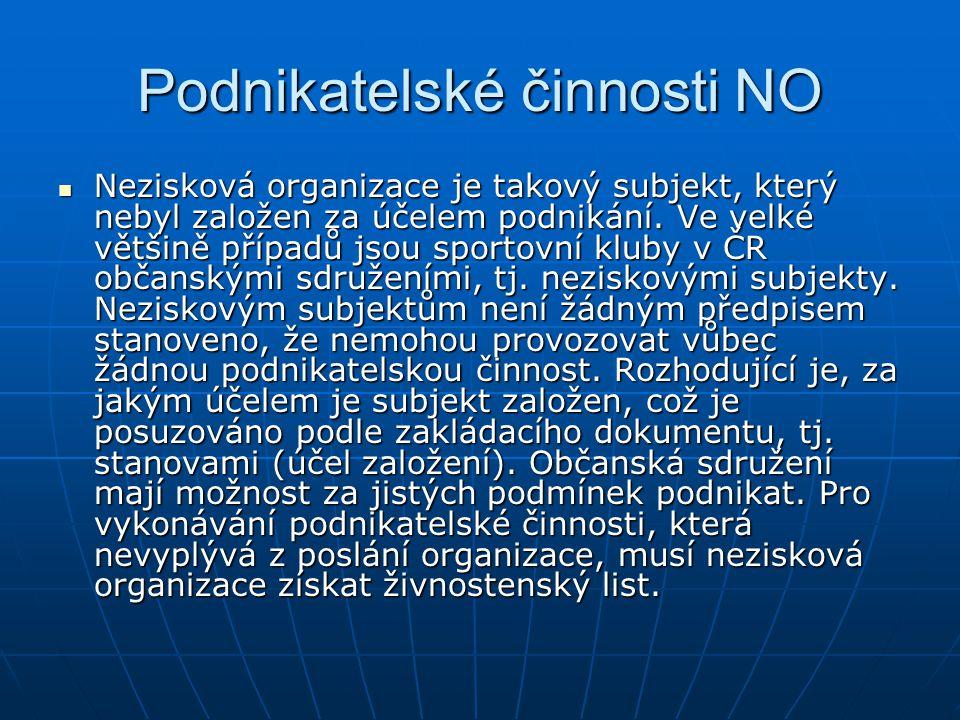 Podnikatelské činnosti NO Nezisková organizace je takový subjekt, který nebyl založen za účelem podnikání. Ve velké většině případů jsou sportovní klu