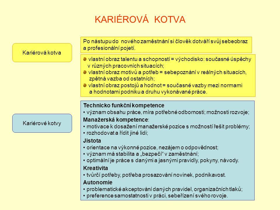 """KARIÉROVÁ KOTVA Kariérové kotvy Technicko funkční kompetence význam obsahu práce, míra potřebné odbornosti; možnosti rozvoje; Manažerská kompetence: motivace k dosažení manažerské pozice s možností řešit problémy; rozhodovat a řídit jiné lidi; Jistota orientace na výkonné pozice, nezájem o odpovědnost; význam má stabilita a """"bezpečí v zaměstnání; optimální je práce s danými a jasnými pravidly, pokyny, návody."""