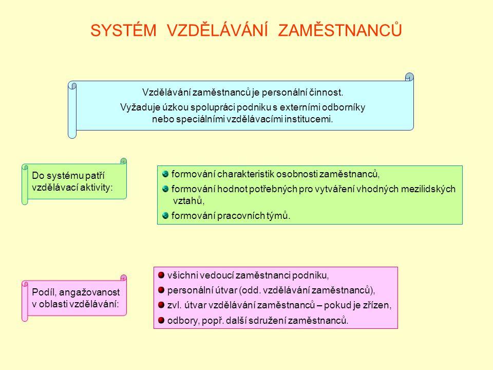 SYSTÉM VZDĚLÁVÁNÍ ZAMĚSTNANCŮ Do systému patří vzdělávací aktivity: formování charakteristik osobnosti zaměstnanců, formování hodnot potřebných pro vytváření vhodných mezilidských vztahů, formování pracovních týmů.