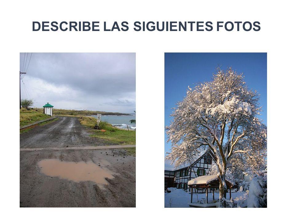 DESCRIBE LAS SIGUIENTES FOTOS