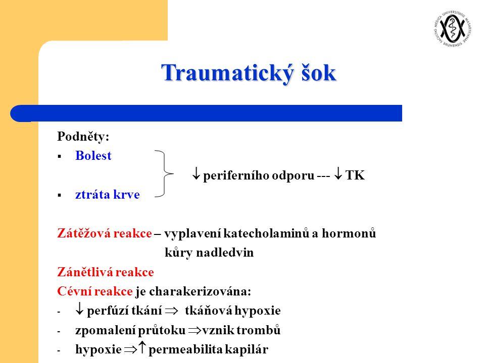 Traumatický šok Podněty:  Bolest  periferního odporu ---  TK  ztráta krve Zátěžová reakce – vyplavení katecholaminů a hormonů kůry nadledvin Zánět