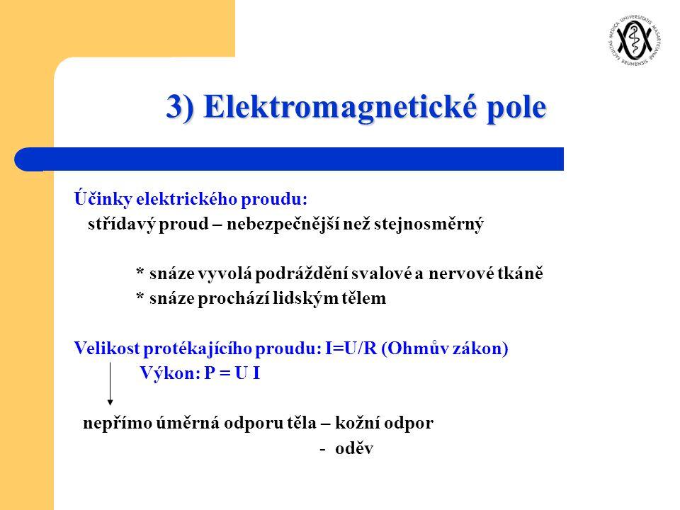 3) Elektromagnetické pole Účinky elektrického proudu: střídavý proud – nebezpečnější než stejnosměrný * snáze vyvolá podráždění svalové a nervové tkán