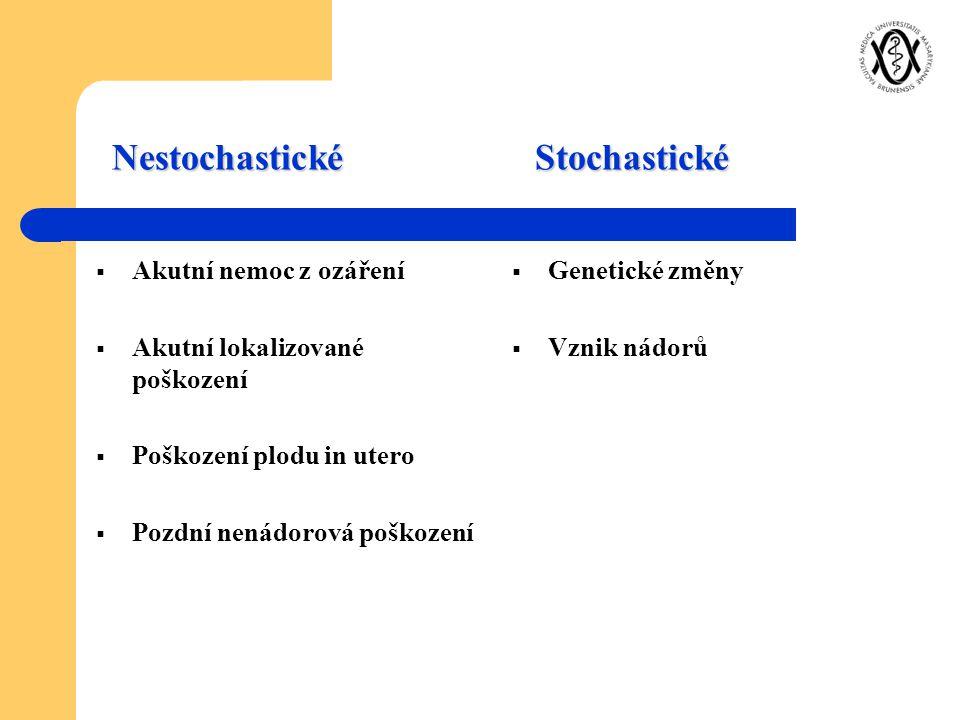 Nestochastické Stochastické  Akutní nemoc z ozáření  Akutní lokalizované poškození  Poškození plodu in utero  Pozdní nenádorová poškození  Geneti