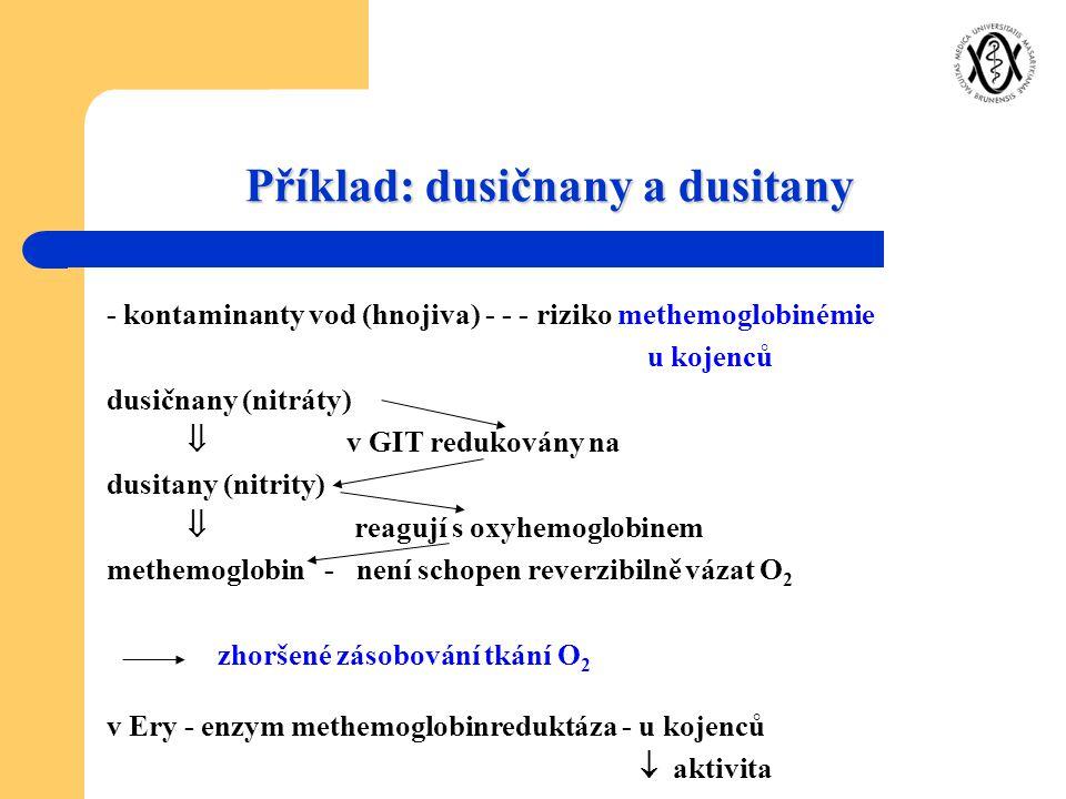 Příklad: dusičnany a dusitany - kontaminanty vod (hnojiva) - - - riziko methemoglobinémie u kojenců dusičnany (nitráty)  v GIT redukovány na dusitany