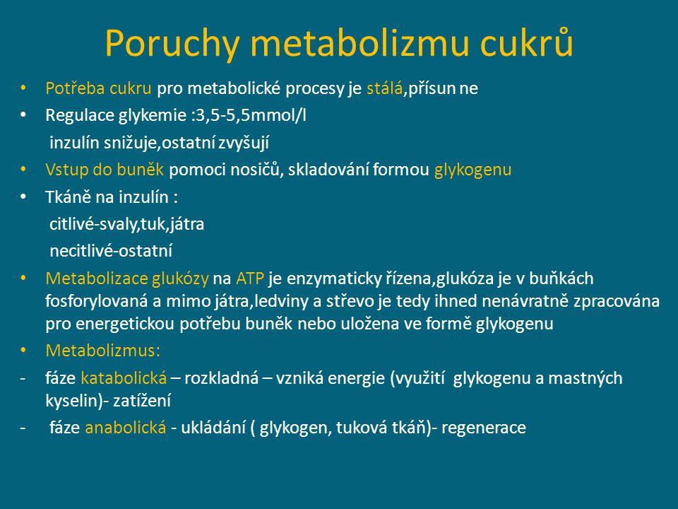 Poruchy metabolizmu cukrů Potřeba cukru pro metabolické procesy je stálá,přísun ne Regulace glykemie :3,5-5,5mmol/l inzulín snižuje,ostatní zvyšují Vstup do buněk pomoci nosičů, skladování formou glykogenu Tkáně na inzulín : citlivé-svaly,tuk,játra necitlivé-ostatní Metabolizace glukózy na ATP je enzymaticky řízena,glukóza je v buňkách fosforylovaná a mimo játra,ledviny a střevo je tedy ihned nenávratně zpracována pro energetickou potřebu buněk nebo uložena ve formě glykogenu Metabolizmus: -fáze katabolická – rozkladná – vzniká energie (využití glykogenu a mastných kyselin)- zatížení - fáze anabolická - ukládání ( glykogen, tuková tkáň)- regenerace