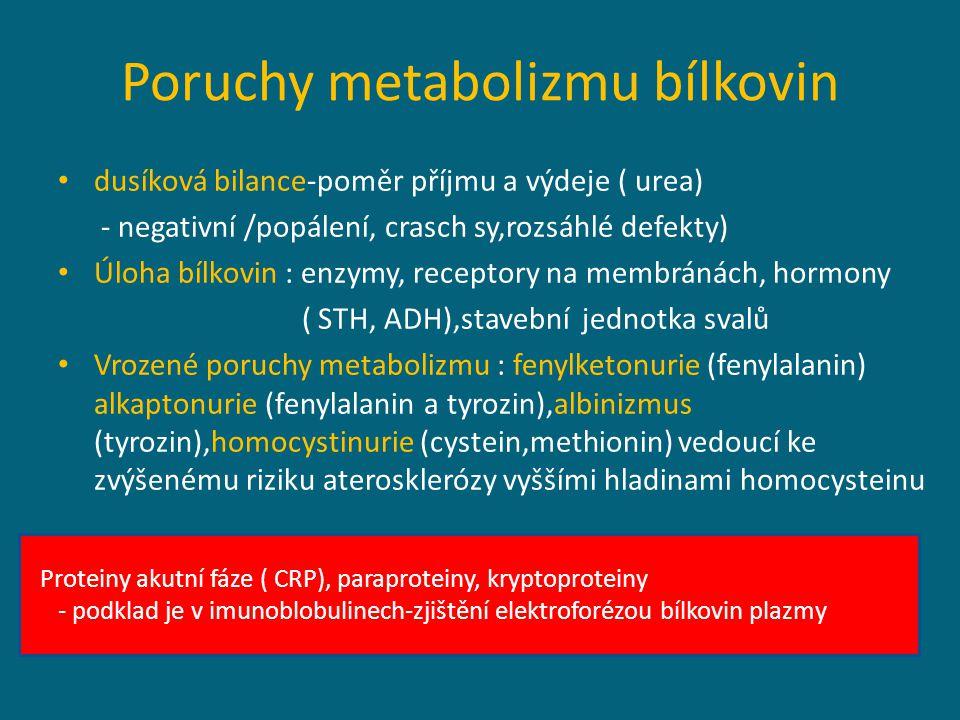 Poruchy metabolizmu bílkovin dusíková bilance-poměr příjmu a výdeje ( urea) - negativní /popálení, crasch sy,rozsáhlé defekty) Úloha bílkovin : enzymy, receptory na membránách, hormony ( STH, ADH),stavební jednotka svalů Vrozené poruchy metabolizmu : fenylketonurie (fenylalanin) alkaptonurie (fenylalanin a tyrozin),albinizmus (tyrozin),homocystinurie (cystein,methionin) vedoucí ke zvýšenému riziku aterosklerózy vyššími hladinami homocysteinu Proteiny akutní fáze ( CRP), paraproteiny, kryptoproteiny - podklad je v imunoblobulinech-zjištění elektroforézou bílkovin plazmy