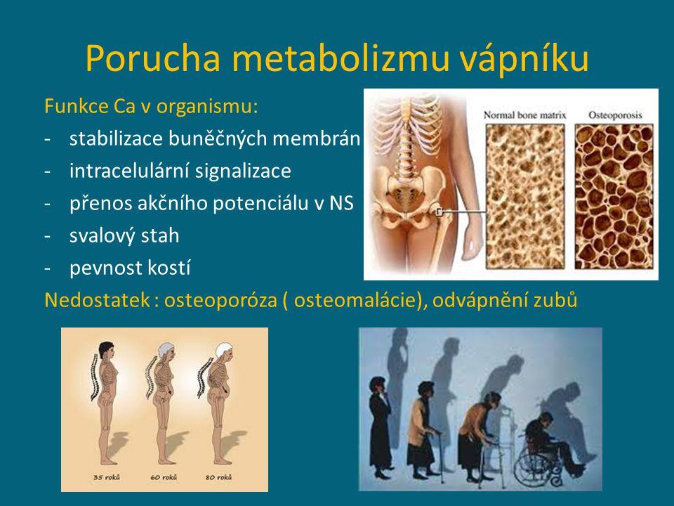Porucha metabolizmu vápníku Funkce Ca v organismu: -stabilizace buněčných membrán -intracelulární signalizace -přenos akčního potenciálu v NS -svalový