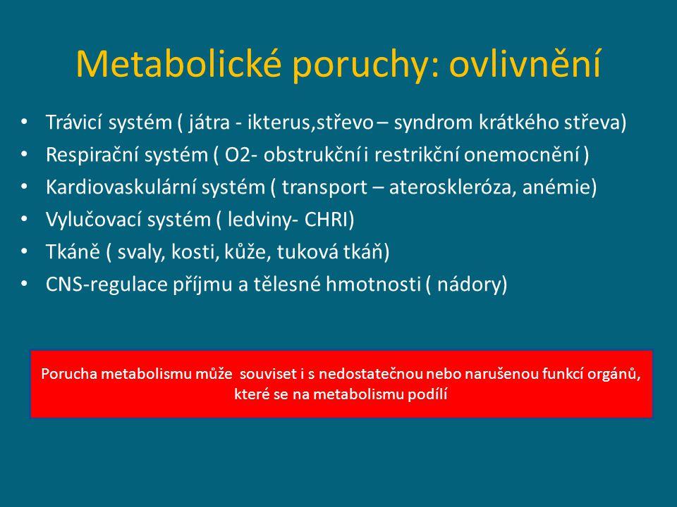 Metabolické poruchy: ovlivnění Trávicí systém ( játra - ikterus,střevo – syndrom krátkého střeva) Respirační systém ( O2- obstrukční i restrikční onemocnění ) Kardiovaskulární systém ( transport – ateroskleróza, anémie) Vylučovací systém ( ledviny- CHRI) Tkáně ( svaly, kosti, kůže, tuková tkáň) CNS-regulace příjmu a tělesné hmotnosti ( nádory) Porucha metabolismu může souviset i s nedostatečnou nebo narušenou funkcí orgánů, které se na metabolismu podílí
